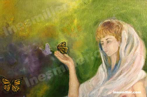Monarch butterfly muse spring transformations oil painting Ines Miller Art