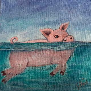 Swimming Pig Ocean pig swimmer mini painting wall decor - Ines Miller art