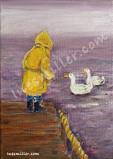 Child with yellow raincoat on wooden deck- ducks on lake painting Small original painting 5X7 for sale