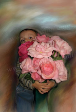Pink Roses with boy flower bouque Darvin Digital painting art for sale Ines Miller art