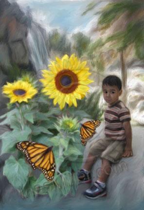 boy sunflowers monarch butterflies digital painting Ines Miller art
