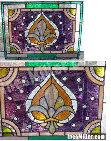 Fleur-de-lis victorial stained glass color leaded glass window decor.