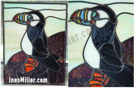 Puffin bird alaskan bird stained glass window decor Ines Miller art