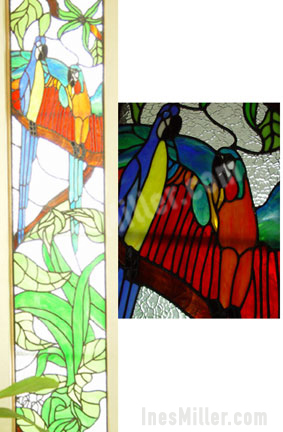 Topical parrots macaws leaded glass stained glass side door window decor.