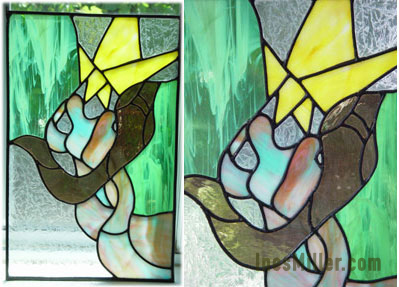 Surreal dream on stained glass lovers Ines Miller art