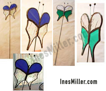 butterflies stained glass plant stakes garden decor